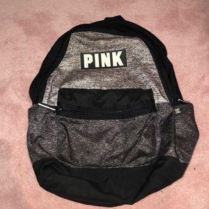 PINK black grey marble backpack campus